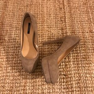 Light brown suede heels with slight platform